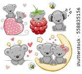 Stock vector set of cute cartoon teddy bear on a white background 558835156