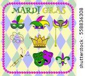 vector set celebration of mardi ... | Shutterstock .eps vector #558836308