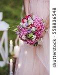 Bride In Pink Wedding Dress...