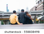 Small photo of Businessman with his wife, and holding hand adultery.