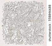 cartoon cute doodles hand drawn ... | Shutterstock .eps vector #558846688