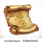 old map treasure island. 3d... | Shutterstock .eps vector #558849640