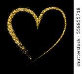 golden glitter isolated hearts. ... | Shutterstock .eps vector #558855718