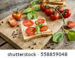 bread toast with cheese tomato... | Shutterstock . vector #558859048