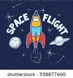 space. cute space travel. tee... | Shutterstock .eps vector #558877600