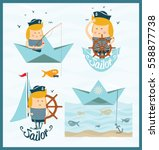 sailor. shipboy. cartoon... | Shutterstock .eps vector #558877738