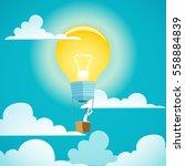 businessman is flying on idea...   Shutterstock .eps vector #558884839