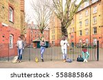 multiracial people group and... | Shutterstock . vector #558885868