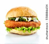 Side View Of Breaded Chicken...