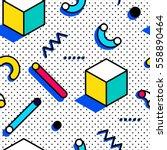 seamless pattern in memphis... | Shutterstock .eps vector #558890464