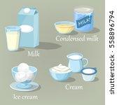 calcium milk products in carton ... | Shutterstock .eps vector #558896794