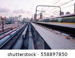 metro speed at the railway... | Shutterstock . vector #558897850