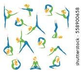 vector yoga asana poses set...   Shutterstock .eps vector #558900658
