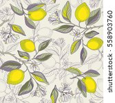 lemon branches seamless pattern.... | Shutterstock .eps vector #558903760