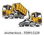 hooklift hoist truck sketch... | Shutterstock .eps vector #558911128