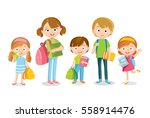 pupils with books and backpacks | Shutterstock .eps vector #558914476