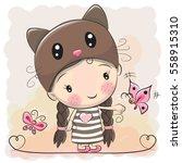 cute cartoon girl in a kitten... | Shutterstock .eps vector #558915310