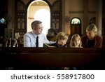 church people believe faith... | Shutterstock . vector #558917800