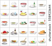 3d food portion set   isolated... | Shutterstock .eps vector #558923644