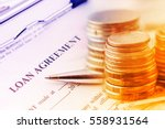 loan agreement with a blue... | Shutterstock . vector #558931564
