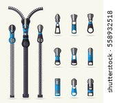 Zipper And Fastener Vector Set...