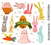 Stock vector set of cute rabbits in bright colors part funny doodle bunny stock vector 558933484