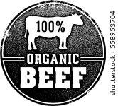 100  organic beef market stamp   Shutterstock .eps vector #558953704