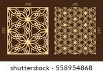 laser cutting set. woodcut... | Shutterstock .eps vector #558954868