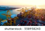 container ship in export and... | Shutterstock . vector #558958243