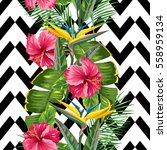 seamless pattern with tropical... | Shutterstock .eps vector #558959134