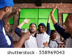 friends watching game in sports ... | Shutterstock . vector #558969043