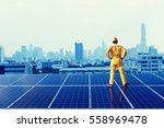 engineer standing looking at... | Shutterstock . vector #558969478