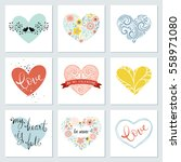 hearts design set. vector... | Shutterstock .eps vector #558971080