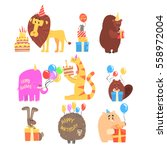 funky animals with party... | Shutterstock .eps vector #558972004