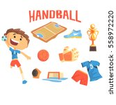boy handball player  kids... | Shutterstock .eps vector #558972220