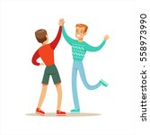 happy best friends giving each... | Shutterstock .eps vector #558973990