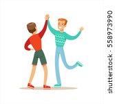 happy best friends giving each... | Shutterstock .eps vector #558973990