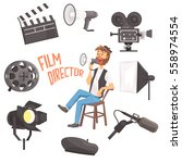 film director sitting with... | Shutterstock .eps vector #558974554