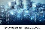 double exposure of city  ...   Shutterstock . vector #558986938