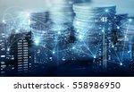 double exposure of city  ... | Shutterstock . vector #558986950