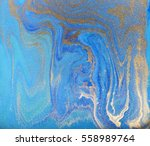 blue and golden liquid texture  ... | Shutterstock . vector #558989764
