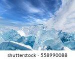 Blocks Of Broken Blue Ice On...