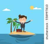 businessman happy in the ocean  ... | Shutterstock .eps vector #558997810