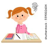 the girl who studies be worried | Shutterstock .eps vector #559002604