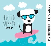 cute surf dog vector... | Shutterstock .eps vector #559012180
