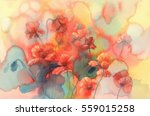 Sunny Poppy Field Watercolor