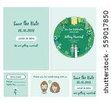 set of wedding invitation cards.... | Shutterstock .eps vector #559017850