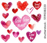 grungy red watercolor hearts... | Shutterstock .eps vector #559038220