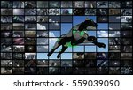 3d rendering. video wall with... | Shutterstock . vector #559039090