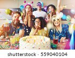 confetti flying around group of ... | Shutterstock . vector #559040104
